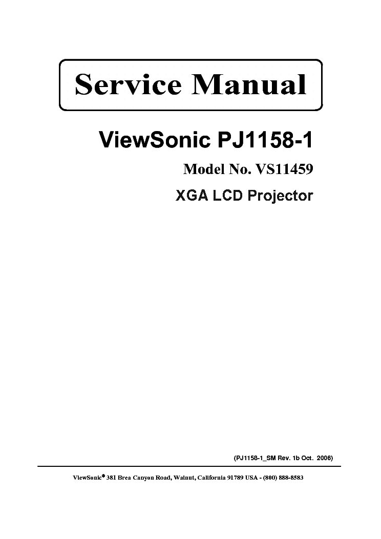 VIEWSONIC PRO8200 SM 1A Service Manual download