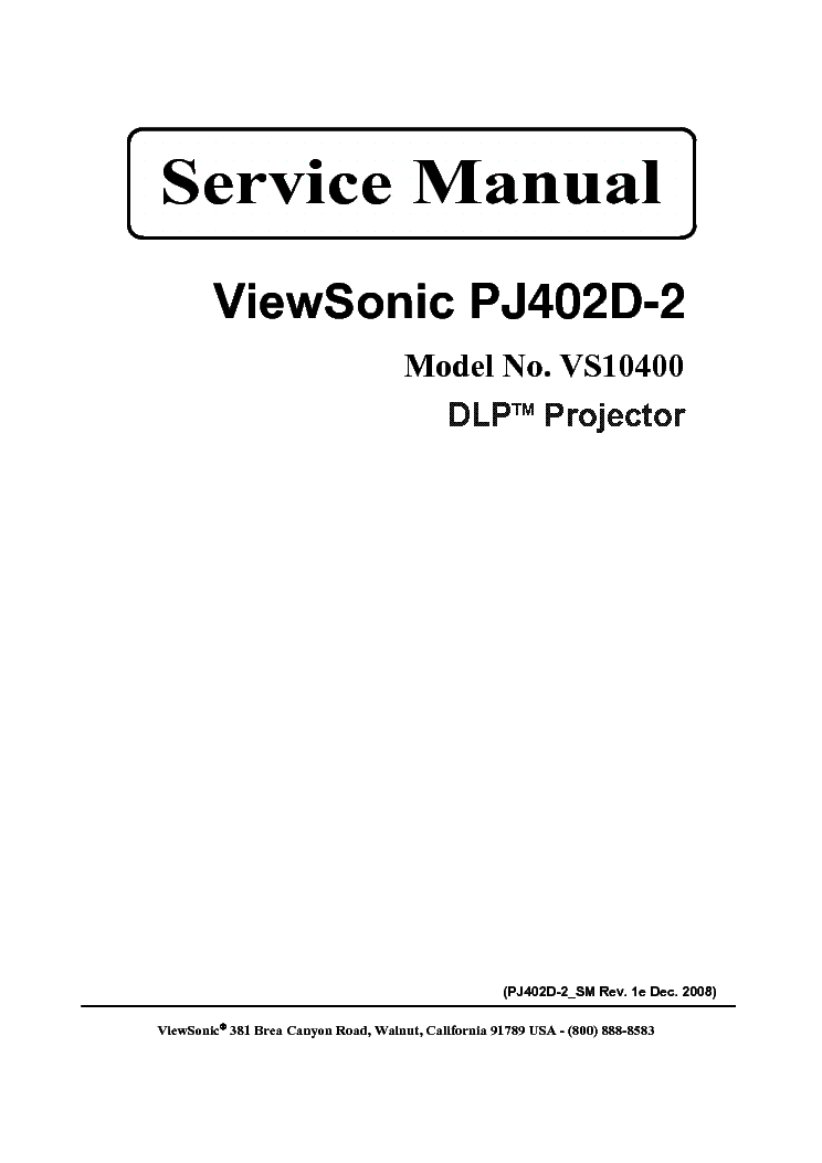 VIEWSONIC PJ402D-2 VS10400 SM Service Manual download