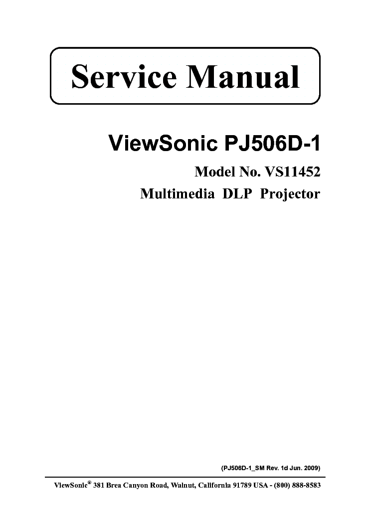 VIEWSONIC PJ506D-1 VS11452 Service Manual download