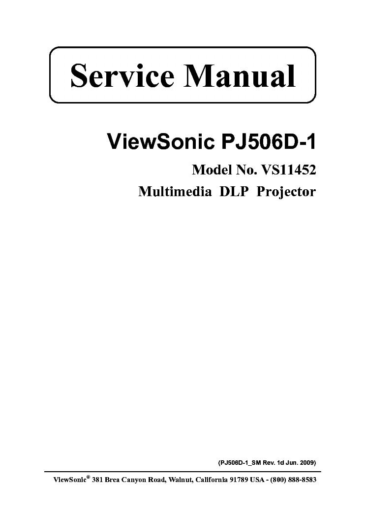 VIEWSONIC PJ506D-1 VS11452 Service Manual download