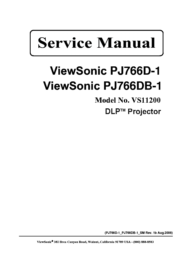 VIEWSONIC PJ500 VPROJ23545-1W Service Manual download