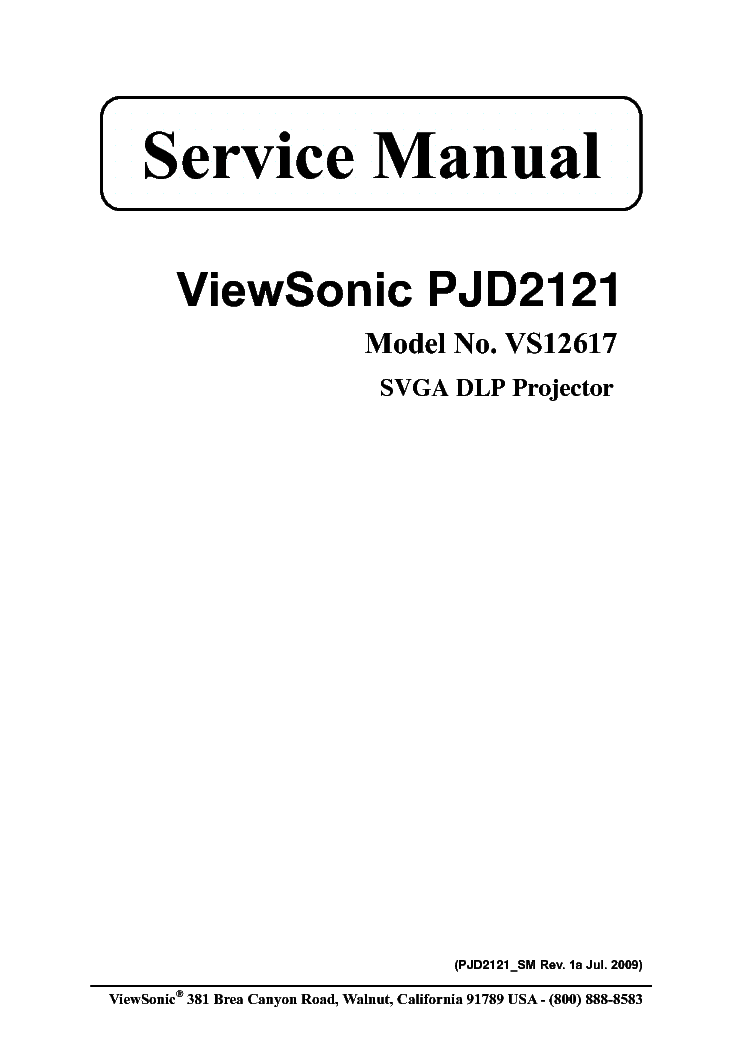 VIEWSONIC PJ500-2C3S2A PJ550-2C3X2A Service Manual