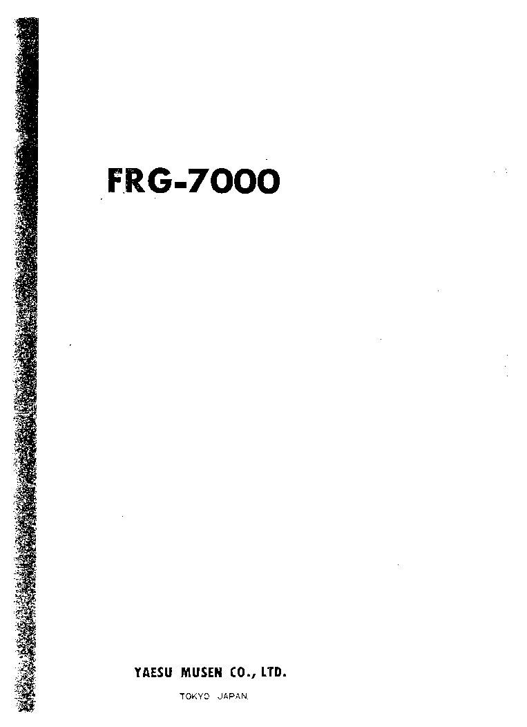 YAESU FRG-7000 COMMUNICATIONS-RECIEVER SM Service Manual