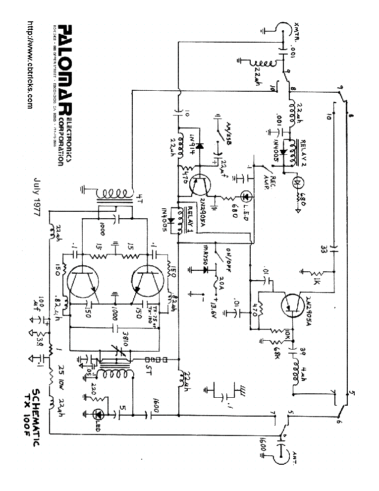 PALOMAR 160 SCH Service Manual download, schematics