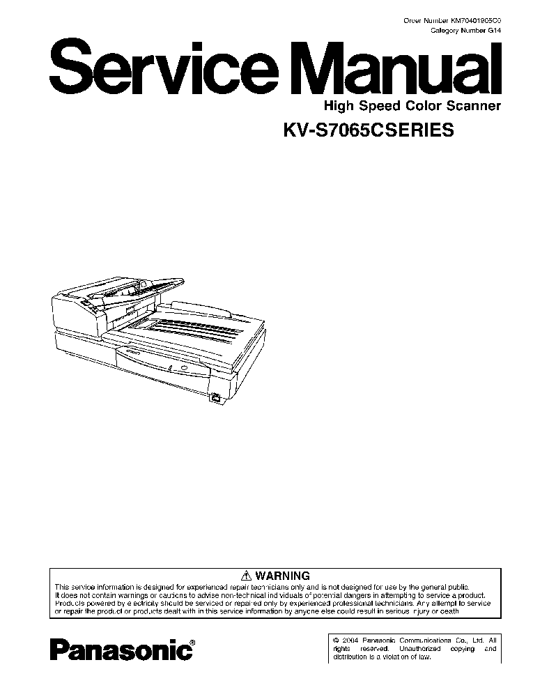 PANASONIC KV-S7065C SCANNER SM Service Manual download