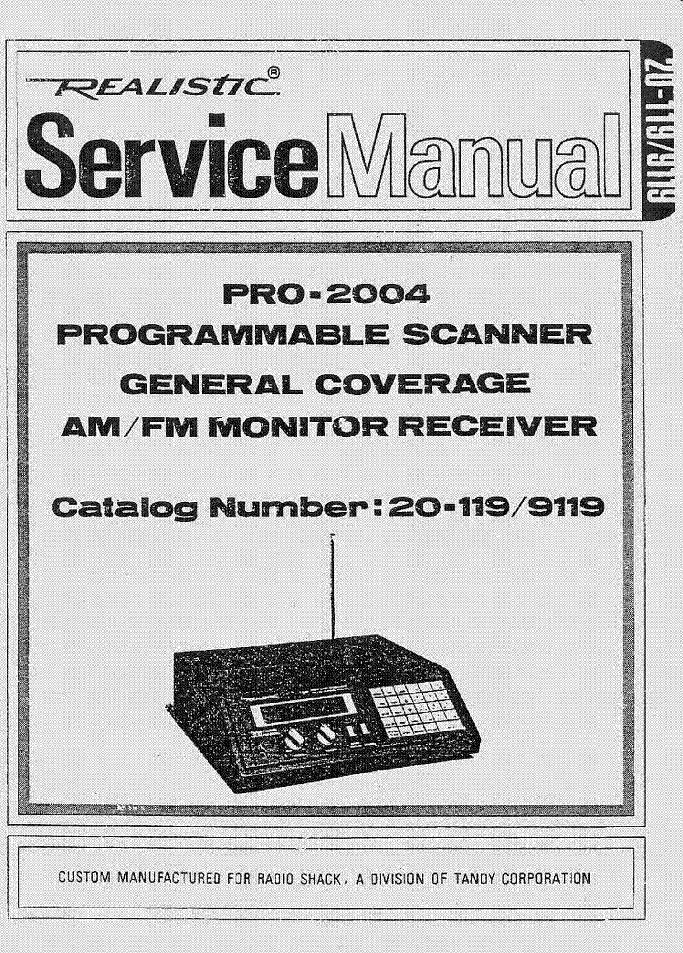 REALISTIC PRO-2004 SM Service Manual download, schematics