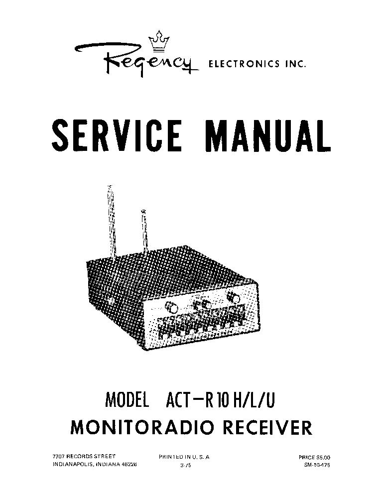 REGENCY ACT-R10H-L-U SM Service Manual download