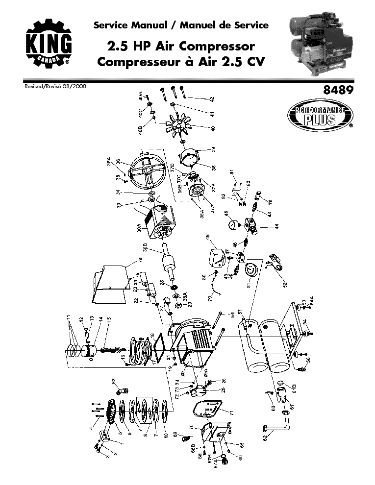 KING CANADA 8489 AIR COMPRESSOR PARTS 2008 8489 Service