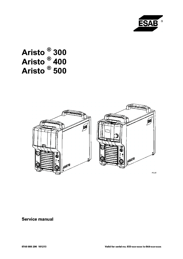 ESAB ARISTO 300 400 500 Service Manual download