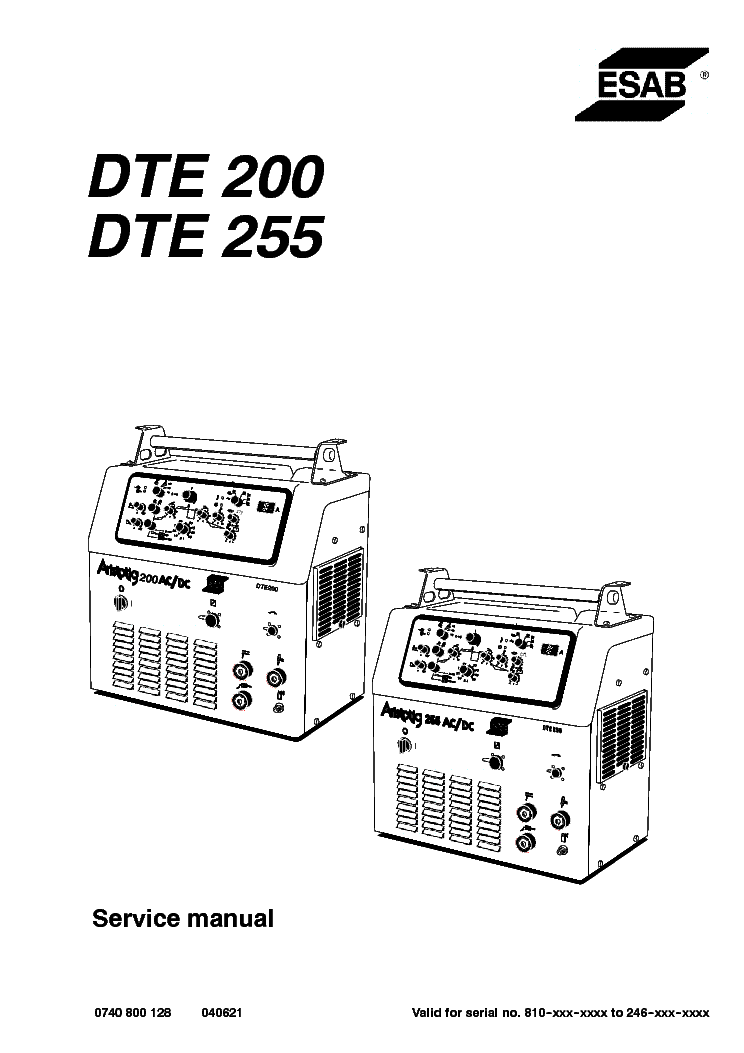 ESAB DTE 200 DTE 255 Service Manual download, schematics