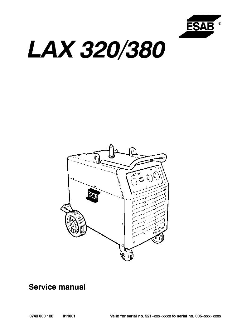 ESAB LAX 320 LAX 380 Service Manual download, schematics