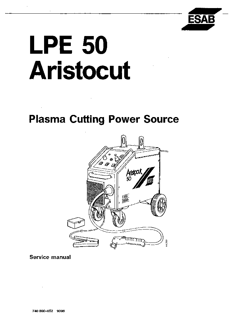 ESAB LPE 50 ARISTO-CUT Service Manual download, schematics
