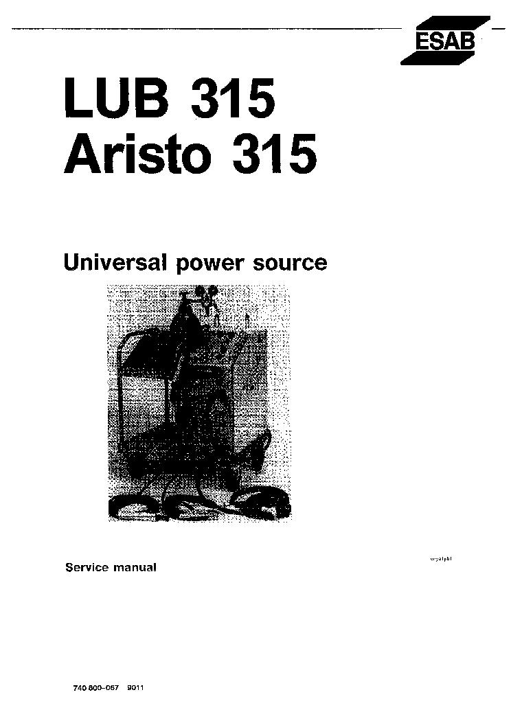 ESAB LUB 315 ARISTO-TIG 315 Service Manual download