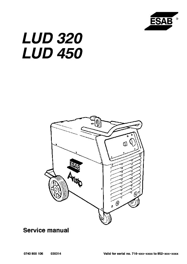 ESAB LUD 320 LUD 450 ARISTO 320 ARISTO 450 Service Manual