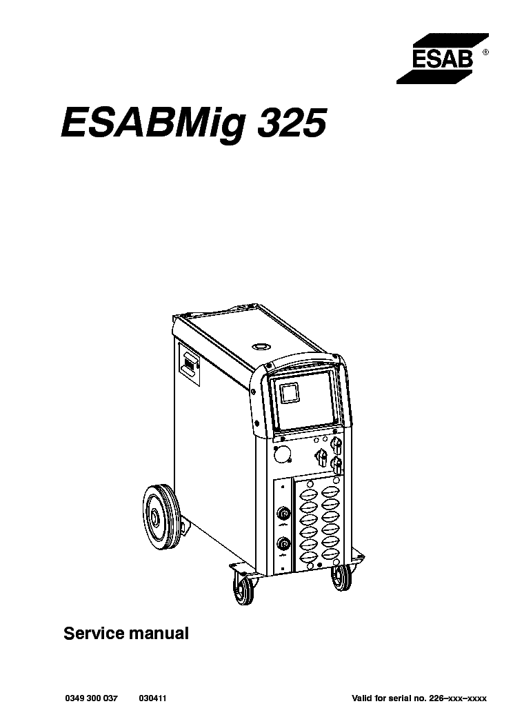 ESAB MIG 325 Service Manual download, schematics, eeprom