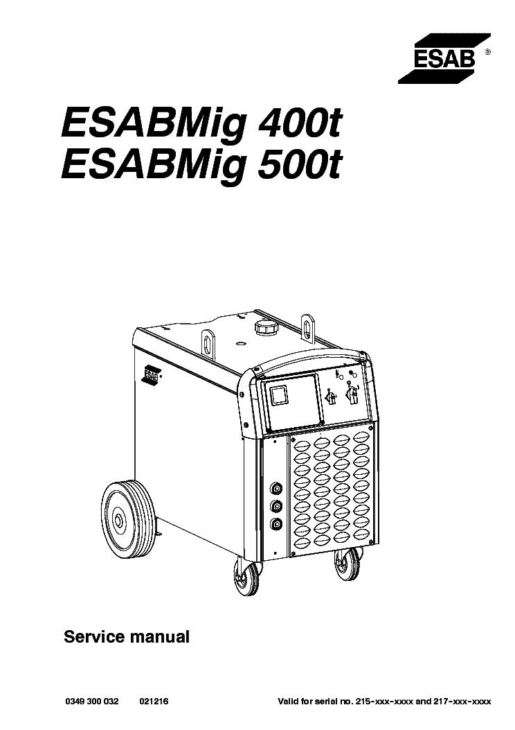 ESAB MIG 400T ESABMIG 500T Service Manual download