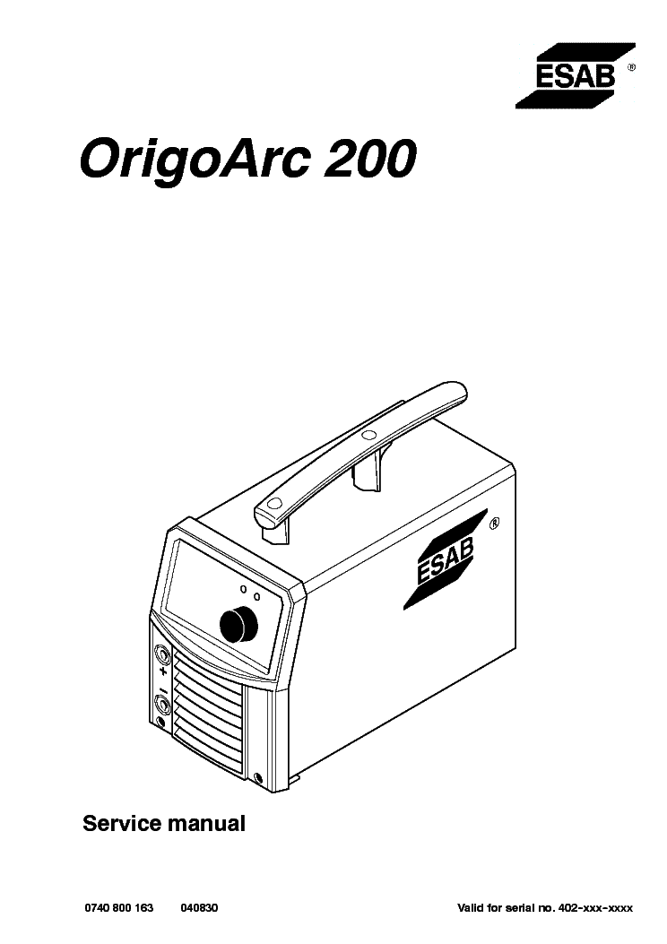ESAB ORIGO-ARC 200 Service Manual download, schematics