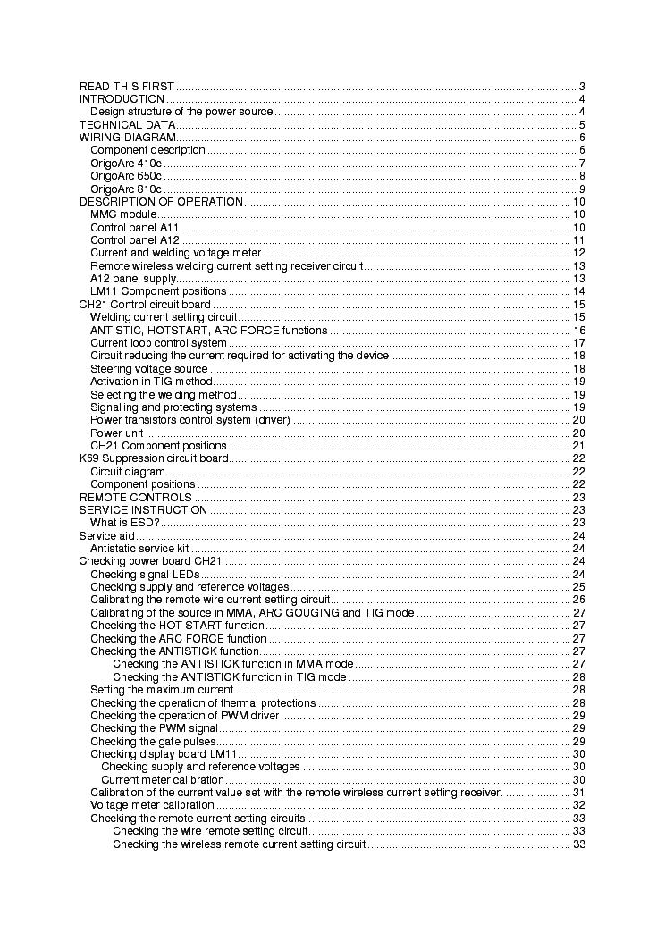 ESAB ORIGO-ARC 410C 650C 810C Service Manual download