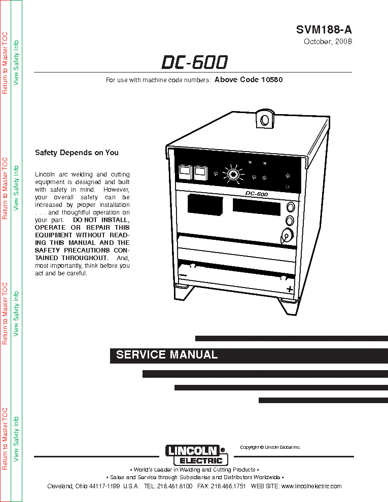 LINCOLN ELECTRIC SVM188-A DC-600 Service Manual download