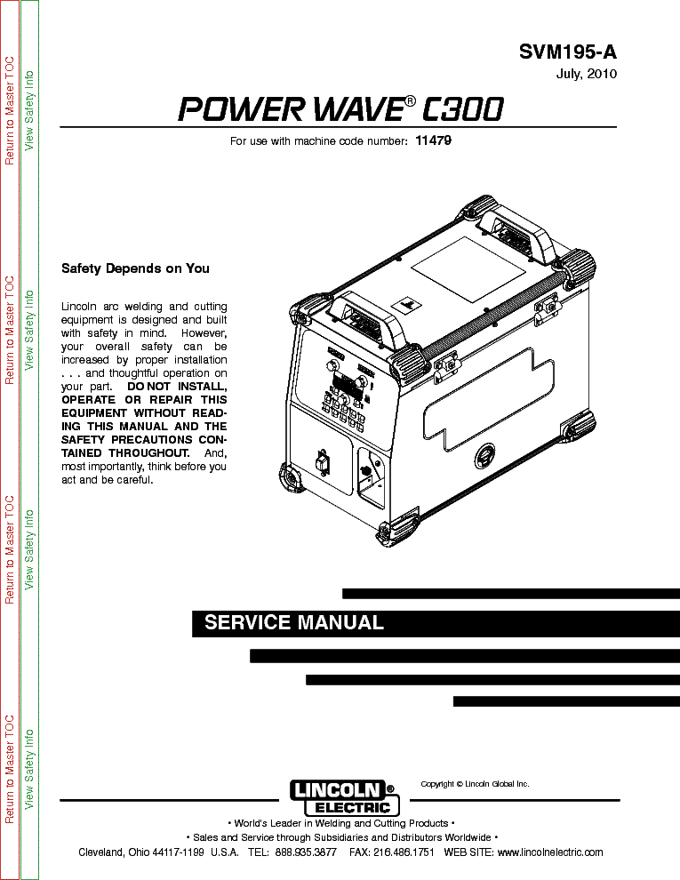 LINCOLN ELECTRIC SVM195-A POWER WAVE C300 Service Manual