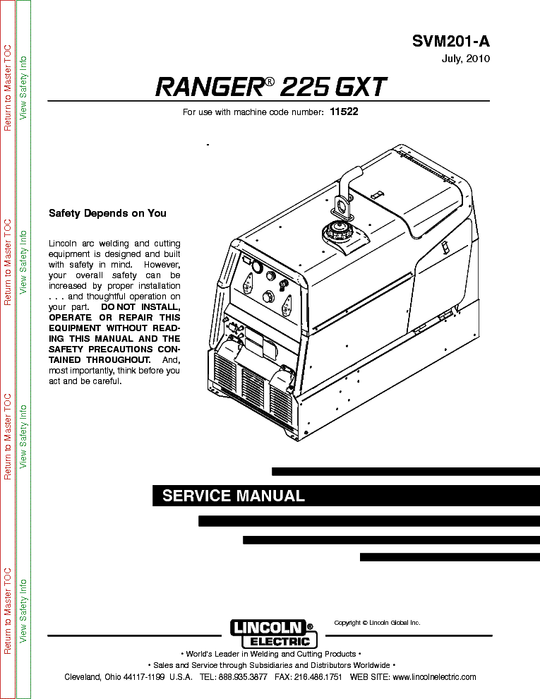 LINCOLN ELECTRIC SVM201-A RANGER 225 GXT Service Manual