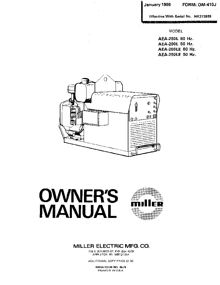 MILLER AEA-200L LE OM-410J Service Manual download