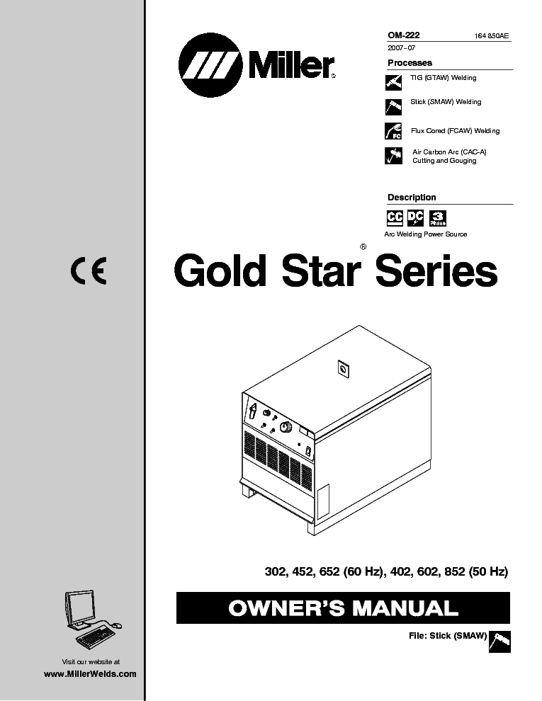 MILLER GOLD STAR SERIES 302 452 652 402 602 852 OM Service