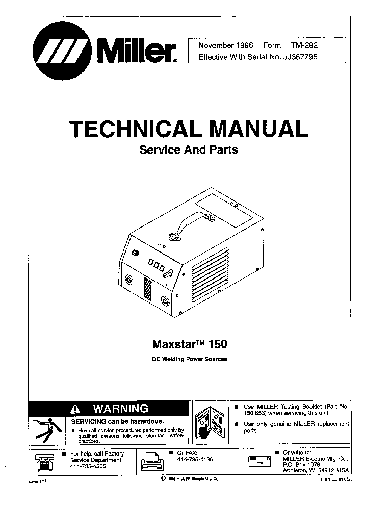 MILLER MAXSTAR DX 300 OM Service Manual free download