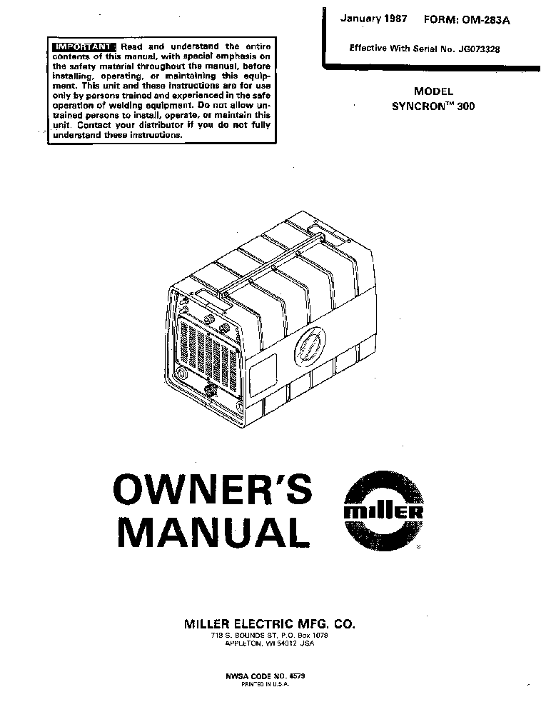 MILLER DYNASTY 200SD DX TECHNICAL-MANUAL Service Manual