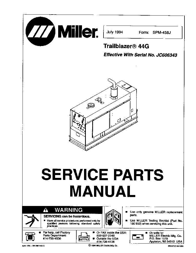 MILLER TRAILBLAZER 44G NO.JC606343 PARTS-MANUAL Service