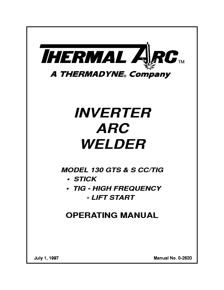 THERMAL ARC 130GTS S CC TIG Service Manual download