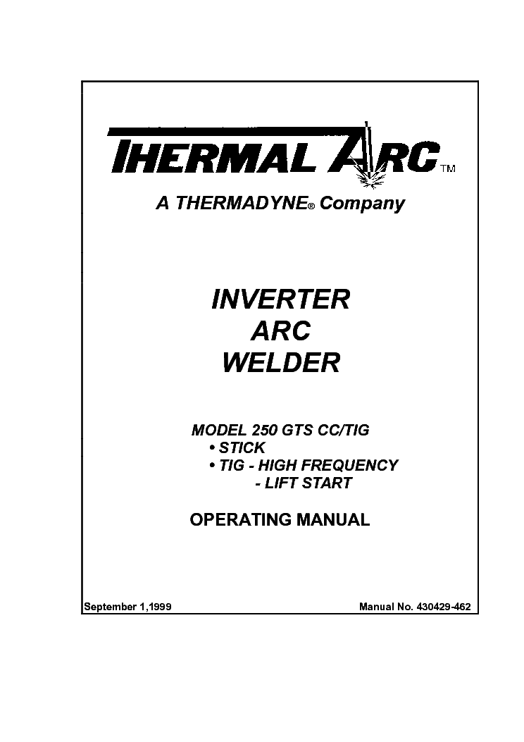 THERMAL ARC 250GTS CC TIG ENG-OM Service Manual download