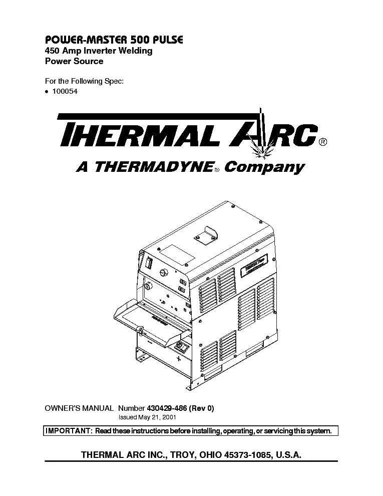 THERMAL ARC 161 STL 201 TS INVERTER WELDER SM Service