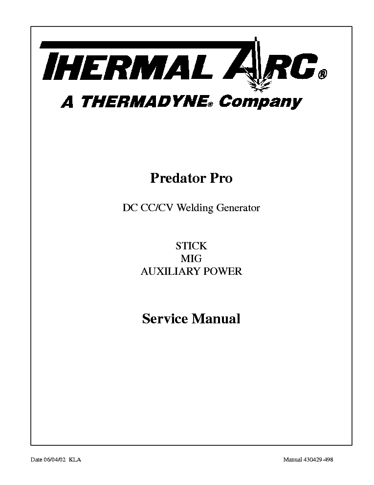 THERMAL ARC PREDATOR PRO ENG-SM Service Manual download