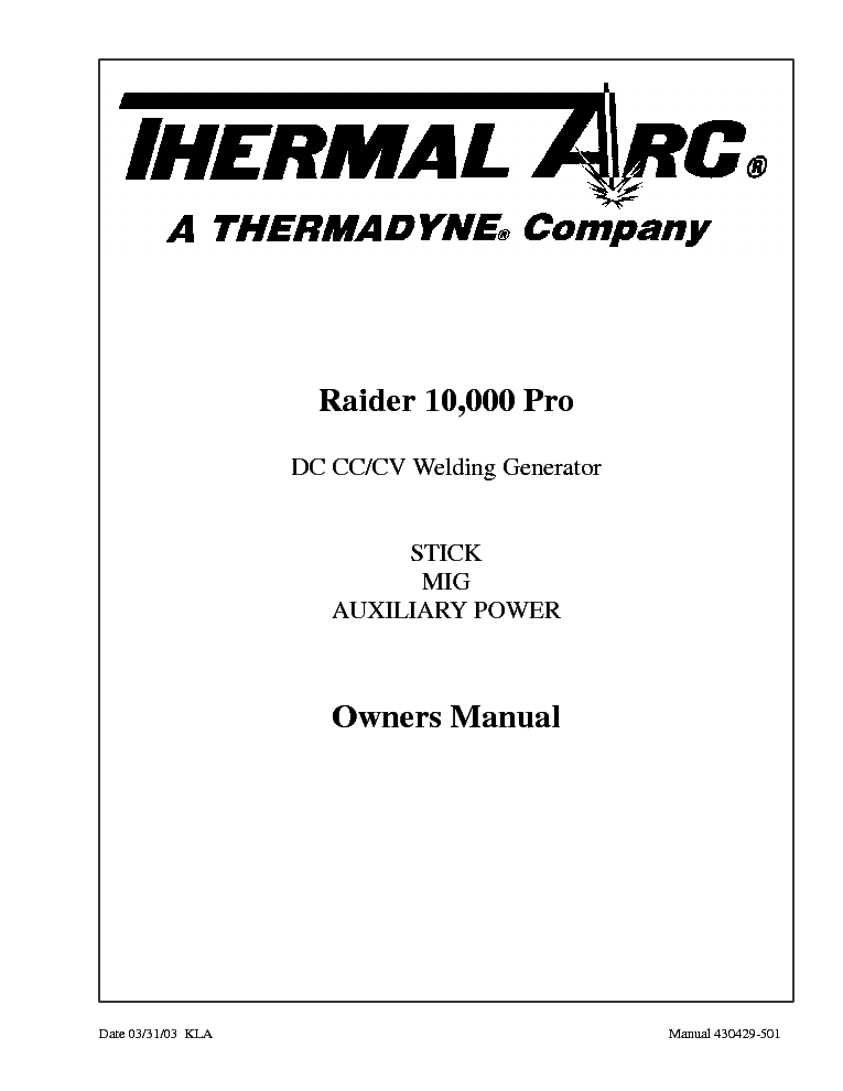 THERMAL ARC RAIDER 10,000 PRO ENG-OM Service Manual