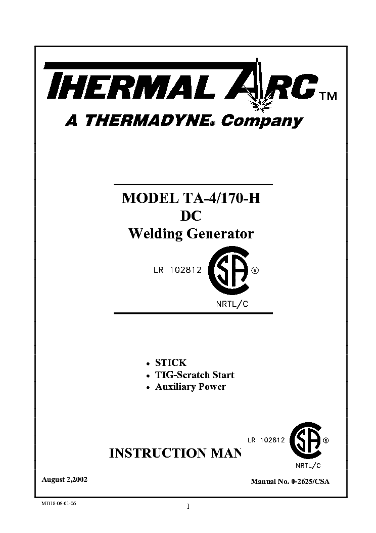 THERMAL ARC TA-4 170H ENG-IM Service Manual download