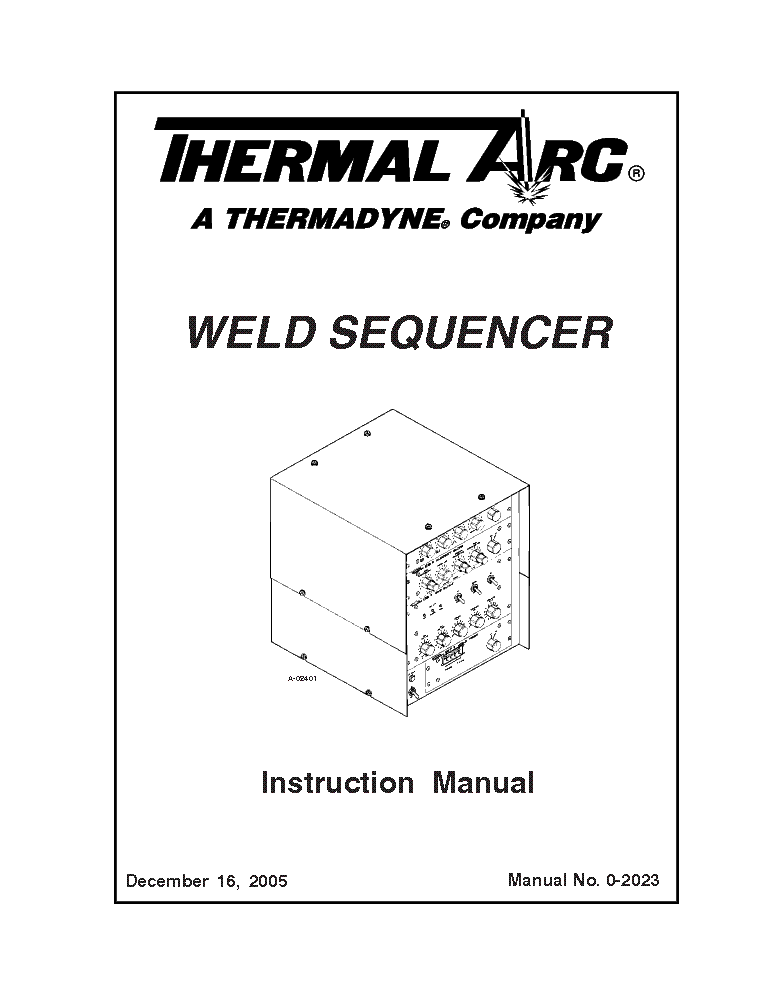 THERMAL ARC WELD SEQUENCER ENG-IM Service Manual download