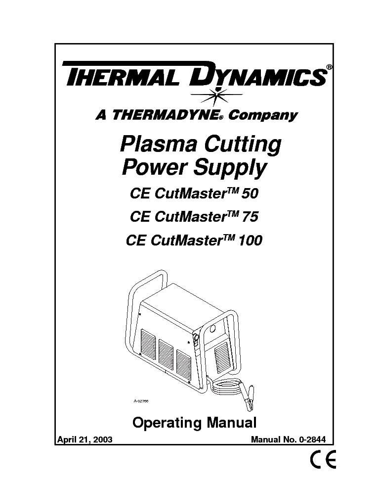 THERMAL DYNAMICS CUTMASTER 50 75 100 ENG-OM Service Manual