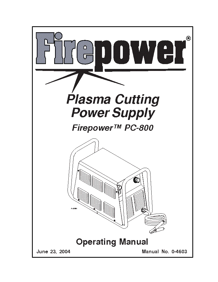 THERMAL DYNAMICS FIREPOWER PC-800 ENG-OM Service Manual