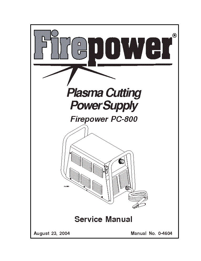 THERMAL DYNAMICS FIREPOWER PC-800 ENG-SM Service Manual