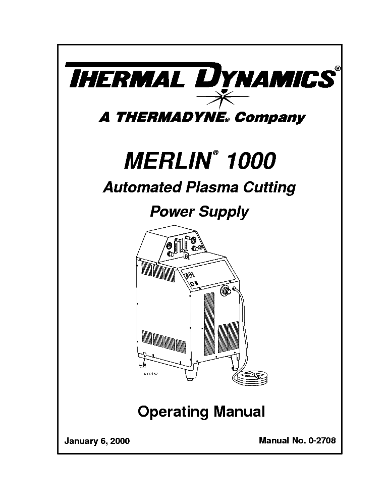 THERMAL DYNAMICS MERLIN 1000 ENG-OM Service Manual