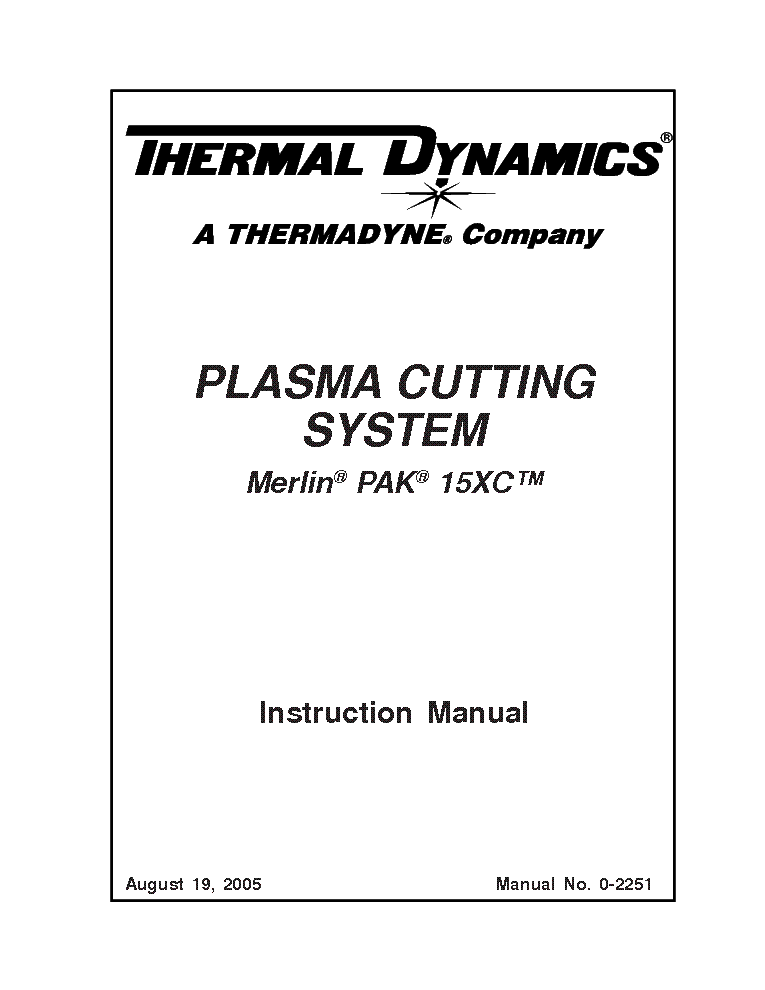 THERMAL DYNAMICS MERLIN PAK 15XC ENG-IM Service Manual