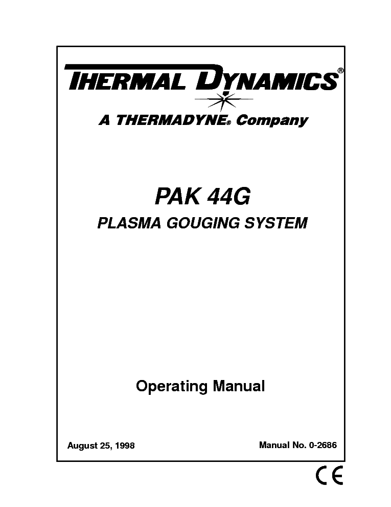 THERMAL DYNAMICS PAK 44G ENG-OM Service Manual download
