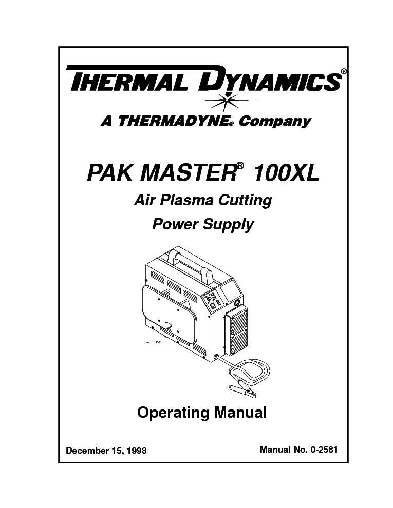 THERMAL DYNAMICS PAK MASTER 100XL ENG-OM Service Manual