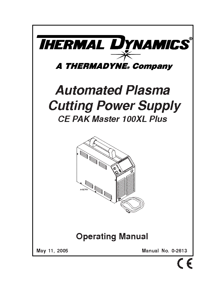 THERMAL DYNAMICS PAK MASTER 100XL PLUS ENG-OM Service