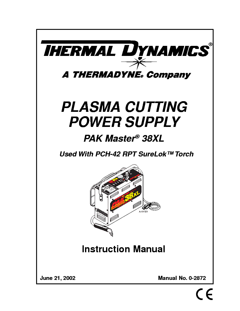 THERMAL DYNAMICS PAK MASTER 38XL ENG-IM Service Manual