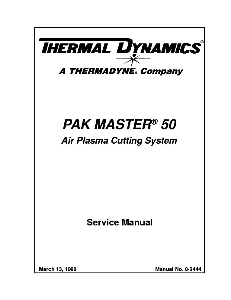 THERMAL DYNAMICS PAK MASTER 38XL ENG-IM Service Manual