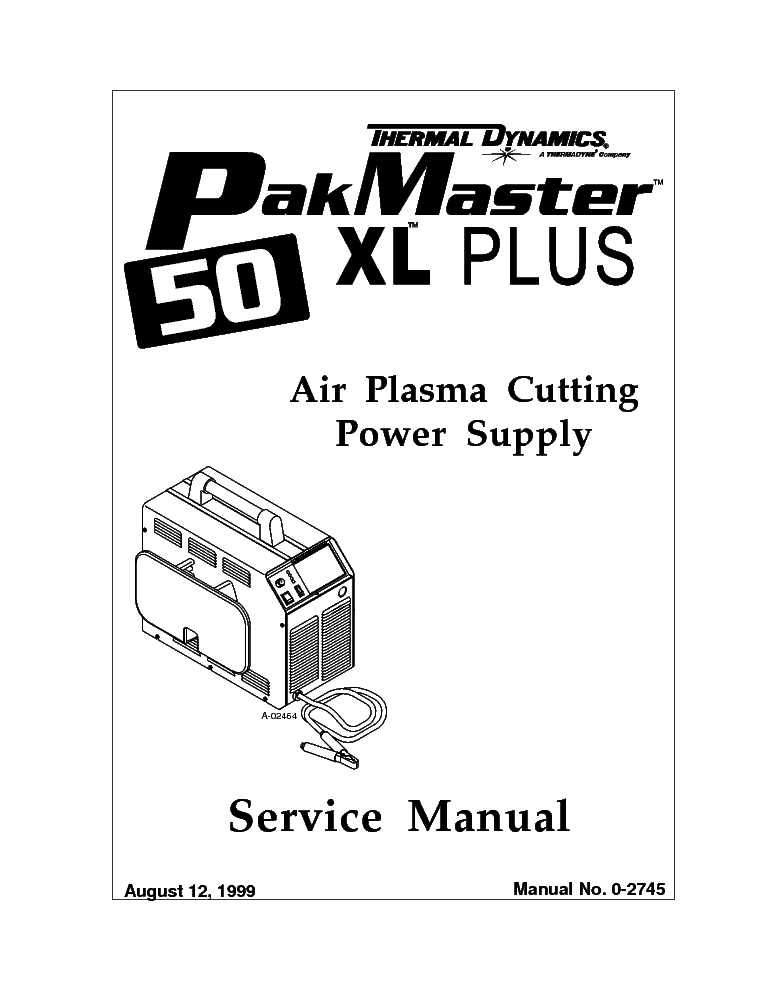 THERMAL DYNAMICS PAK MASTER 50XL PLUS ENG-SM Service