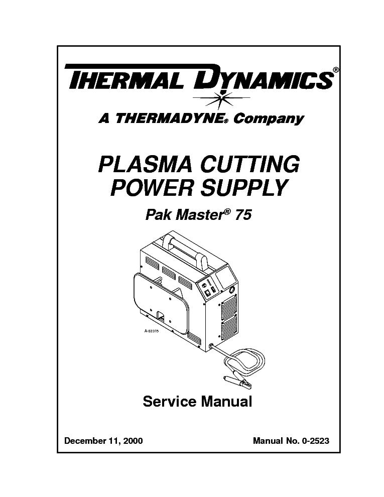 THERMAL DYNAMICS PAK MASTER 75 ENG-SM Service Manual