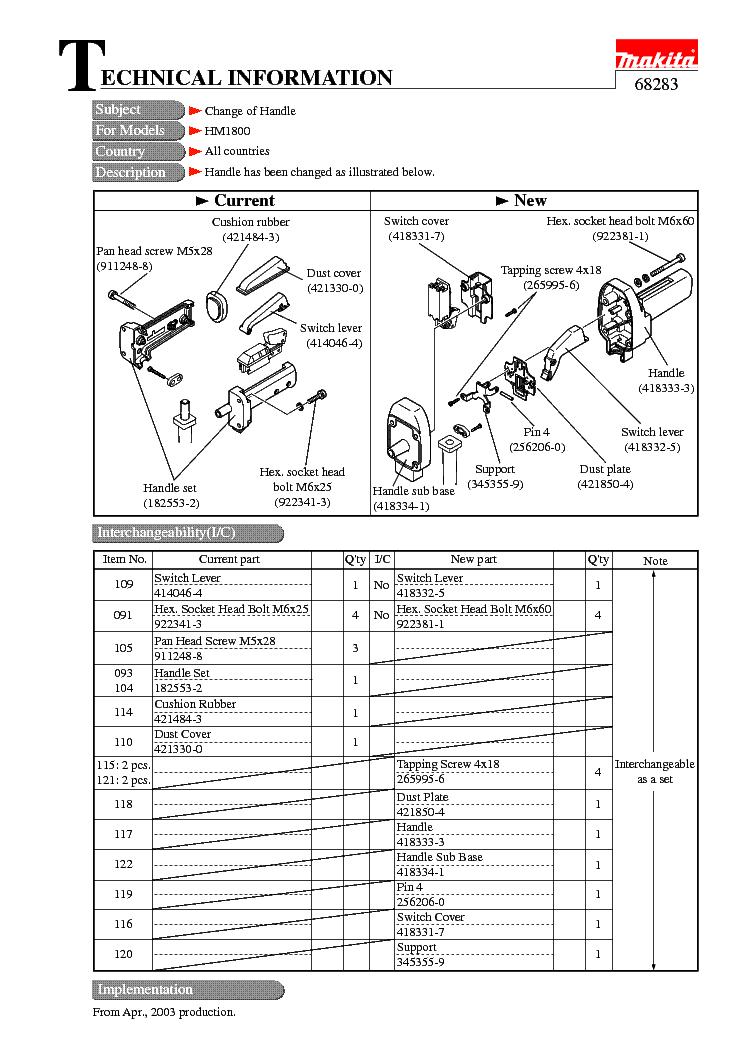 MAKITA 68283-WW-1 Service Manual download, schematics